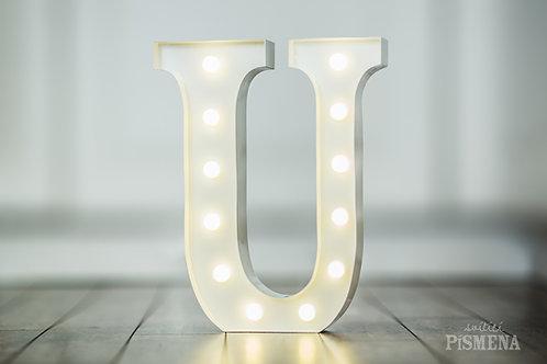 Kovové svítící písmeno U