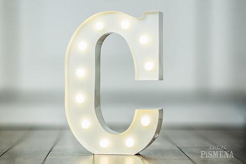 Kovové svítící písmeno C