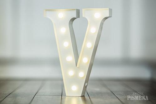 Kovové svítící písmeno V