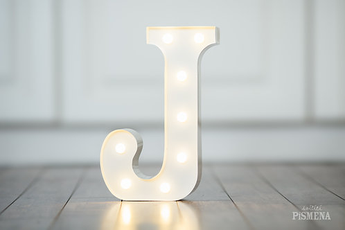 Kovové svítící písmeno J
