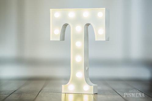 Kovové svítící písmeno T
