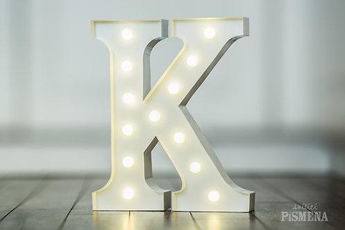 Kovové svítící písmeno K