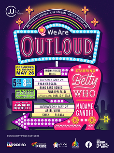 JJ|LA AND SXSW TRANSFORM ARTIST SHOWCASE OUTLOUD INTO 10-PART CONCERT SERIES AVAILABLE EXCLUSIVELY ON FACEBOOK TO KICK OFF PRIDE   Five Week Series Premieres May 26 & 27 with Betty Who Headlining an Inclusive Lineup of LGBTQIA+ and Allied Artists   Concerts to Support Fundraising for Community Pride Partners Including Los Angeles, Houston, Phoenix, and Washington D.C.