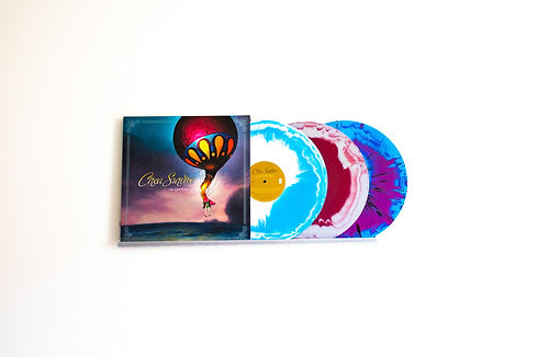 "Circa Survive ""On Letting Go"" vinyl records being displayed on Discover Vinyl brand Extendable Vinyl Display Shelf - Aluminum Wall Mount for Multiple LP Records"