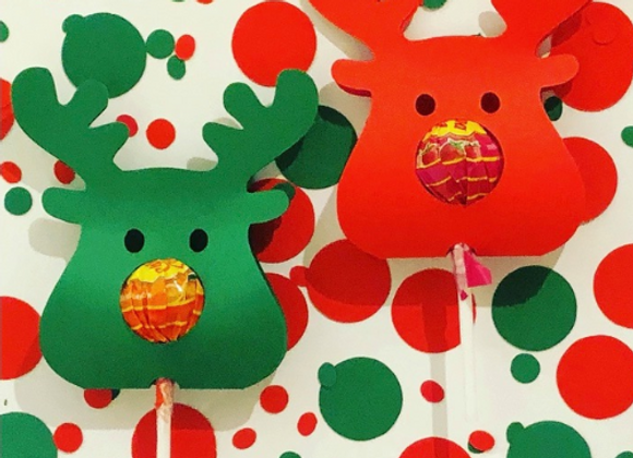 Red and Green Reindeer Lollipops (Pack of 10)