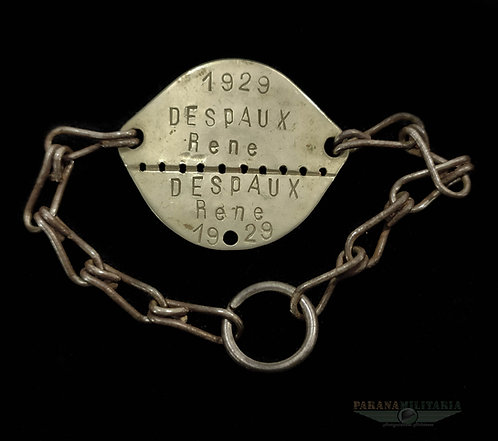 Dog Tag Soldado Francês 1929 - pré 2ª Guerra Mundial