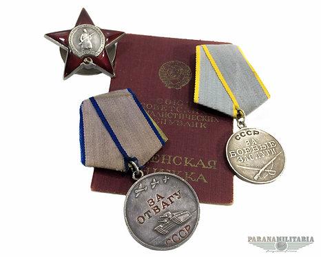 Conjunto com 3 condecorações do mesmo soldado Soviético - 2ª Guerra Mundial