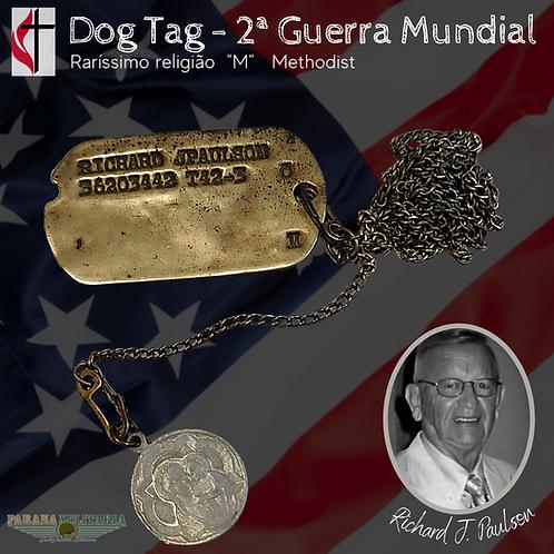 """Raríssimo Dog Tag """"Metodista"""" 1942 -  2ª Guerra Mundial"""
