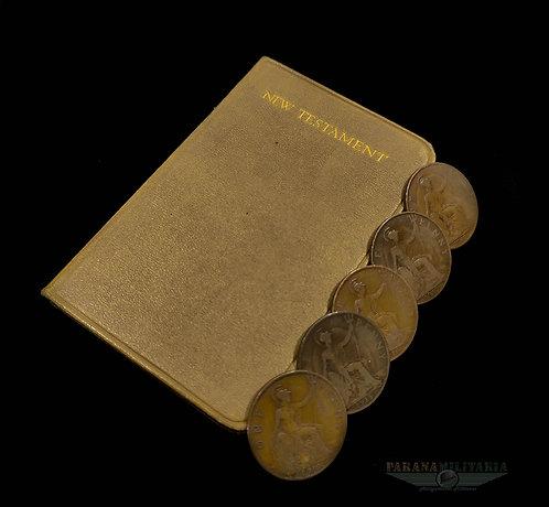 Bíblia de Bolso Britânica ano 1916 e Moedas - 1ª Guerra Mundial