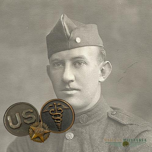 Insígnias de colarinho e descarga honorável - Médico 1ª Guerra Mundial