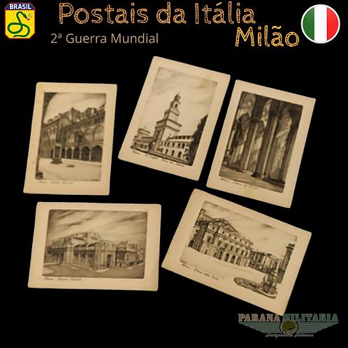Lote 5 Cartões-postais de Milão - 2ª Guerra Mundial
