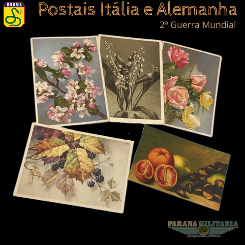 Lote 5 Cartões-postais da Itália e Alemanha - 2ª Guerra Mundial