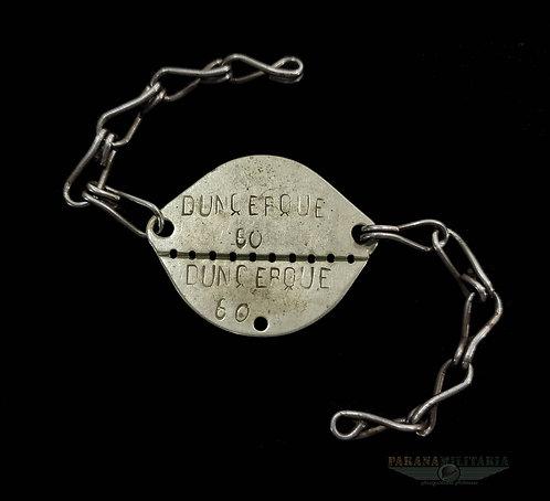 Dog Tag Soldado Francês 1922 Dunquerque - pré 2ª Guerra Mundial