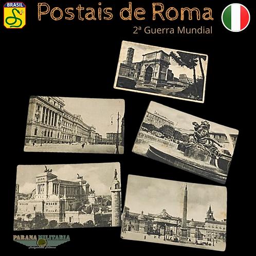 Lote 5 Cartões-postais de Roma - 2ª Guerra Mundial