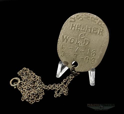 """Dog Tag USNRF - """"Helmer"""" - 1ª Guerra Mundial"""