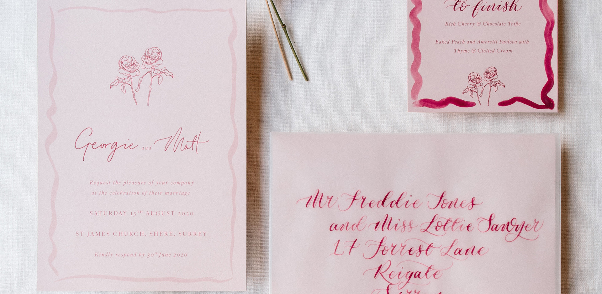 Handpainted bespoke wedding stationery.j