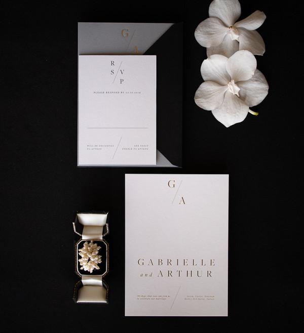 Gold Foil luxury wedding invitations wit