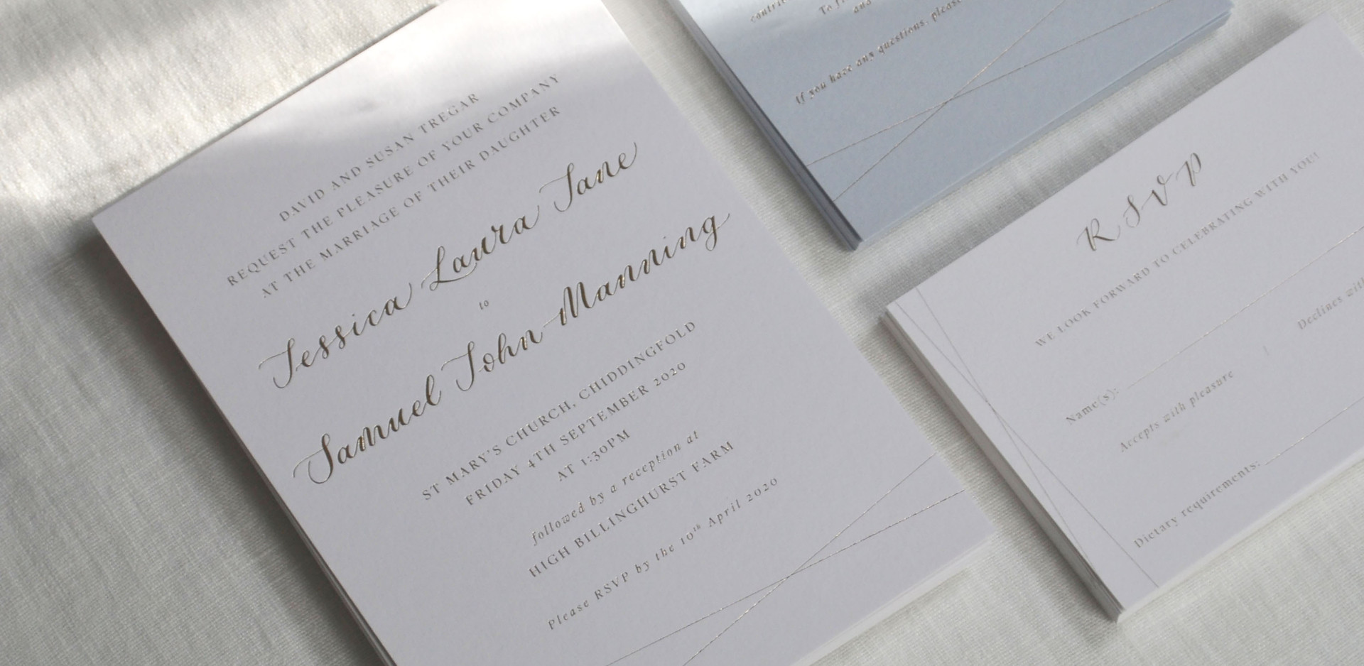 Bespoke Foil Printed Wedding Invitation