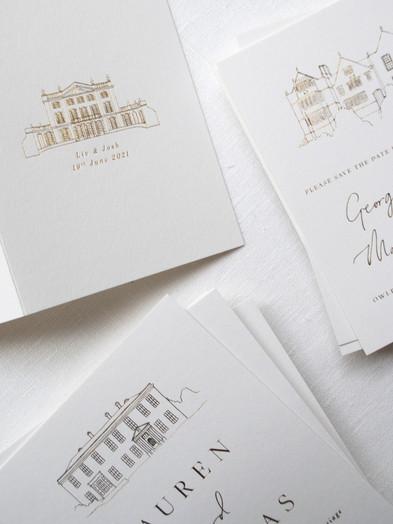 BESPOKE HOT FOIL PRINTED WEDDING VENUE ILLUSTRATIONS