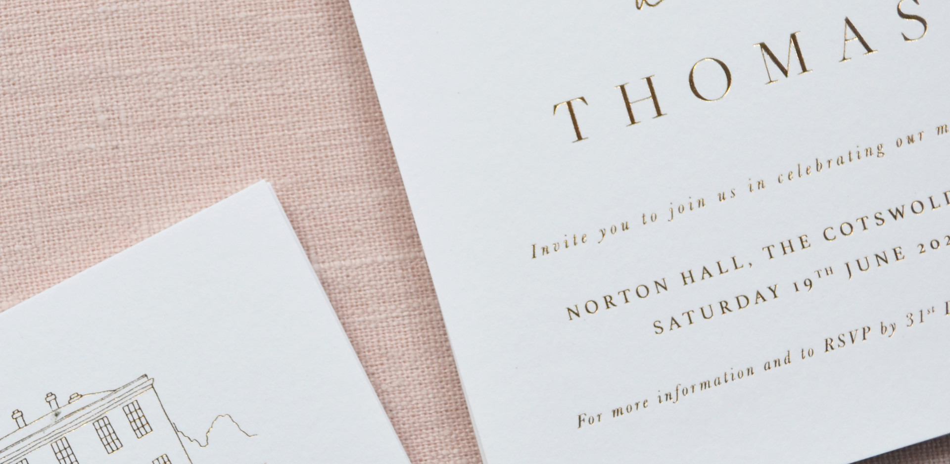 Bespoke Hot Foil printed wedding invitat