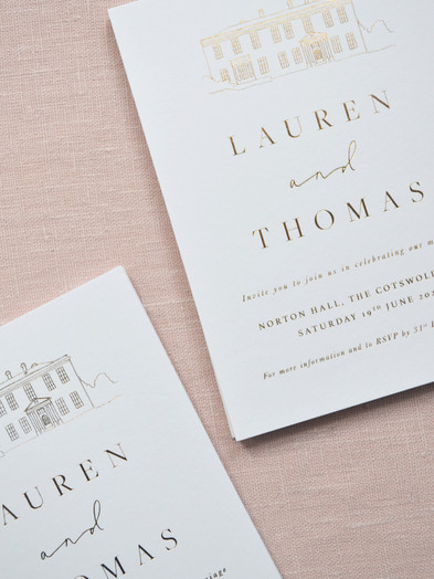 BESPOKE HOT FOIL PRINTED WEDDING INVITATIONS