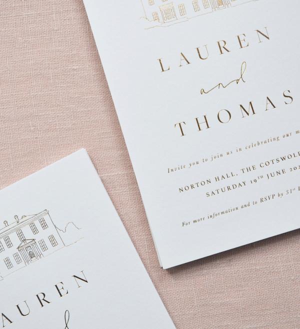 Bespoke Hot Foil printed wedding invitat