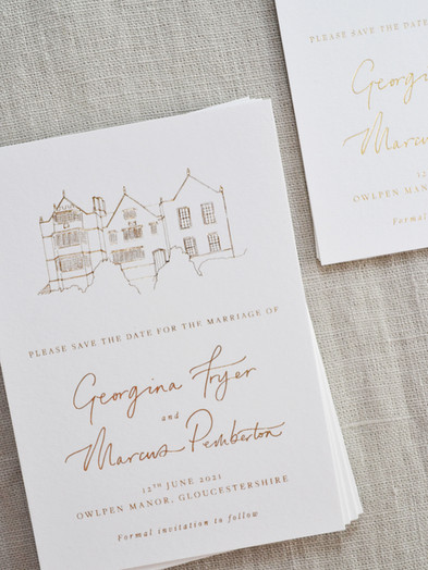 HOT FOIL PRINTED SAVE THE DATE CARDS