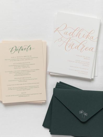 CALLIGRAPHY LETTERPRESS PRINTED WEDDING INVITATIONS
