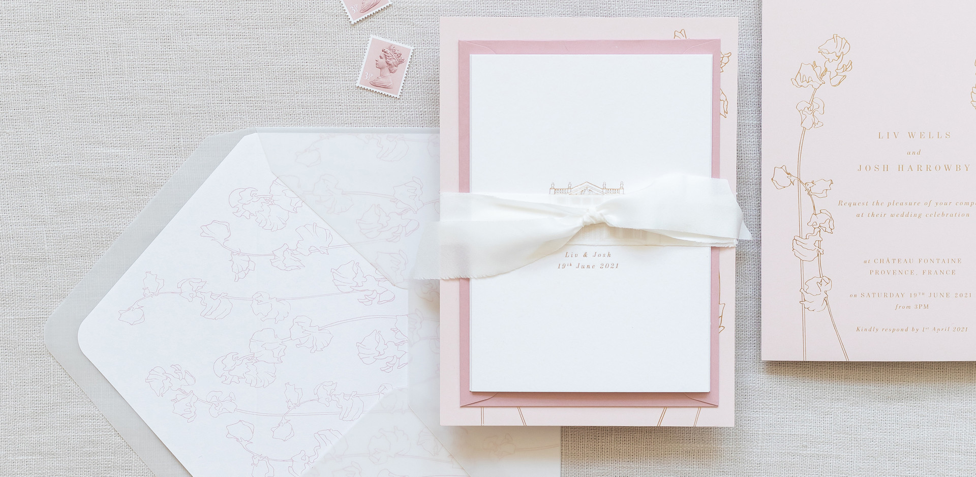 Bespoke Wedding invitation suite tied wi