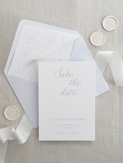 CALLIGRAPHY & LETTERPRESS PRINTED SAVE THE DATE CARDS