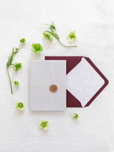 LETTERPRESS PRINTED WEDDING STATIONERY WITH FLORAL WAX SEAL