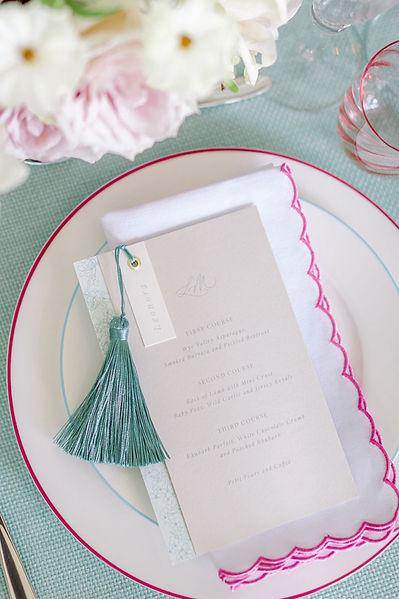luxury wedding day stationery, menu cards