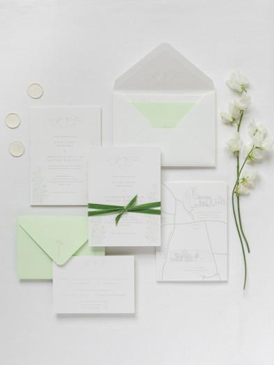 BESPOKE WEDDING INVITATION WITH MONOGRAM, FLORAL & VENUE ILLUSTRATIONS