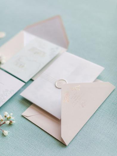 BESPOKE WEDDING INVITATION WITH HOT FOIL PRINTED ENVELOPE