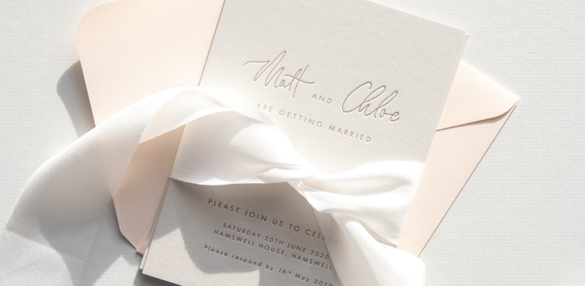 Bespoke Letterpress Invitation with silk