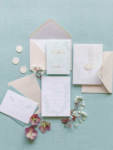 BESPOKE LETTERPRESS WEDDING INVITATION & HOT FOIL PRINTED HAND DRAWN MAP