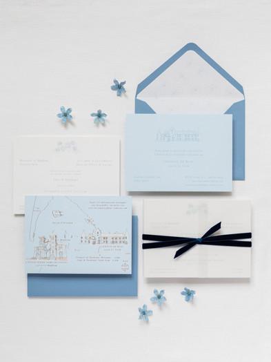 BESPOKE WEDDING INVITATION & HOT FOIL PRINTED HAND DRAWN MAP