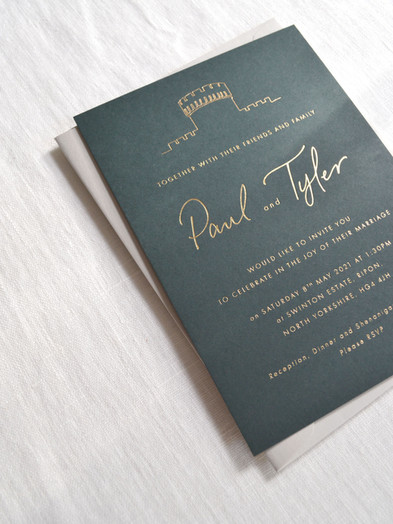 BESPOKE HOT FOIL PRINTED WEDDING INVITATION