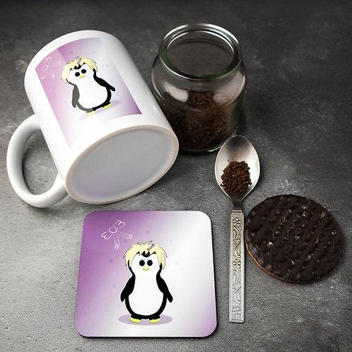 Penguin mug and coaster, matching set, purple