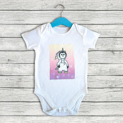 Penguin baby grow, pink, blue or unicorn