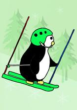 Crafty Penguin Skiing Slalom Design