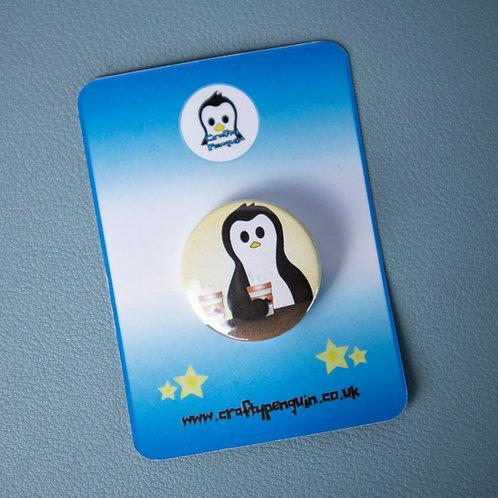 Coffee time, coffee drinker, penguin badge
