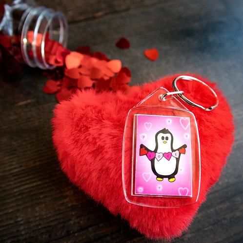 Penguin love heart, pink, key ring