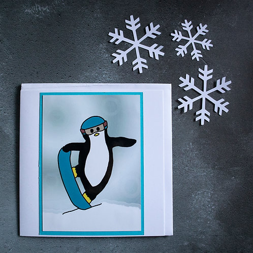 Snowboarding penguin, mountains, greeting card