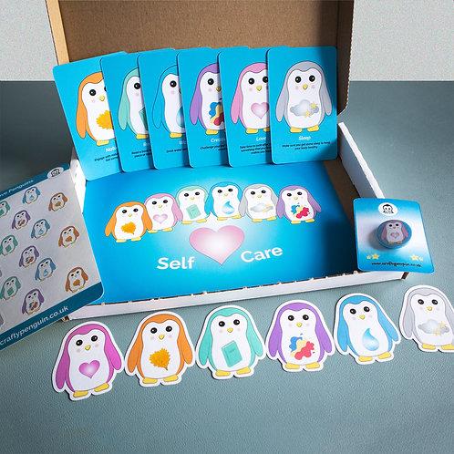 Self care penguins, mindfulness, gift box