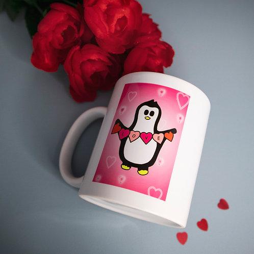 Penguin with love hearts, pink, mug