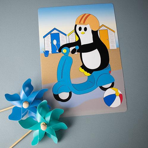 Travel print, penguin art print, scooter, beach