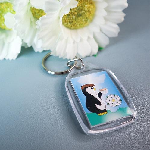 Yorkshire penguin key ring, cup of tea, white rose