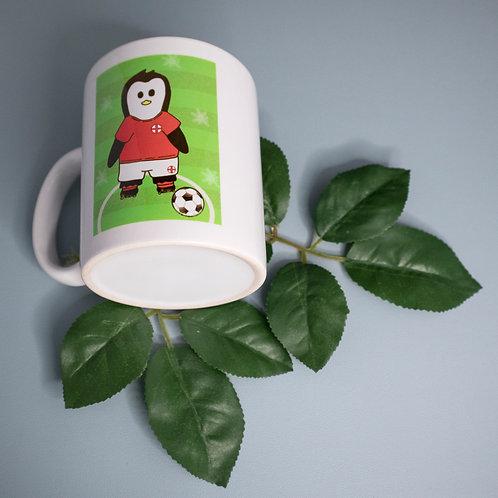 Football penguin, England, mug