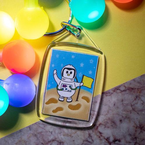Moon landing, astronaut, penguin, key ring
